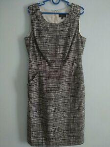 Pure-Collection-100-Seide-Bleistift-Kleid-mit-Taschen-Groesse-uk12-Schwarz-Weiss-Linien