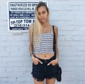 44f7328d28 Brandy Melville white blue plaid checkers crop smocked izzy tank top ...