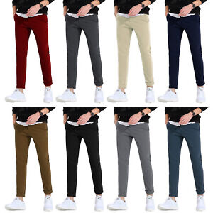 Para-Hombres-Pantalones-Chino-Stretch-Skinny-Jeans-de-Calce-Ajustado-Informal-Semental-Disenador