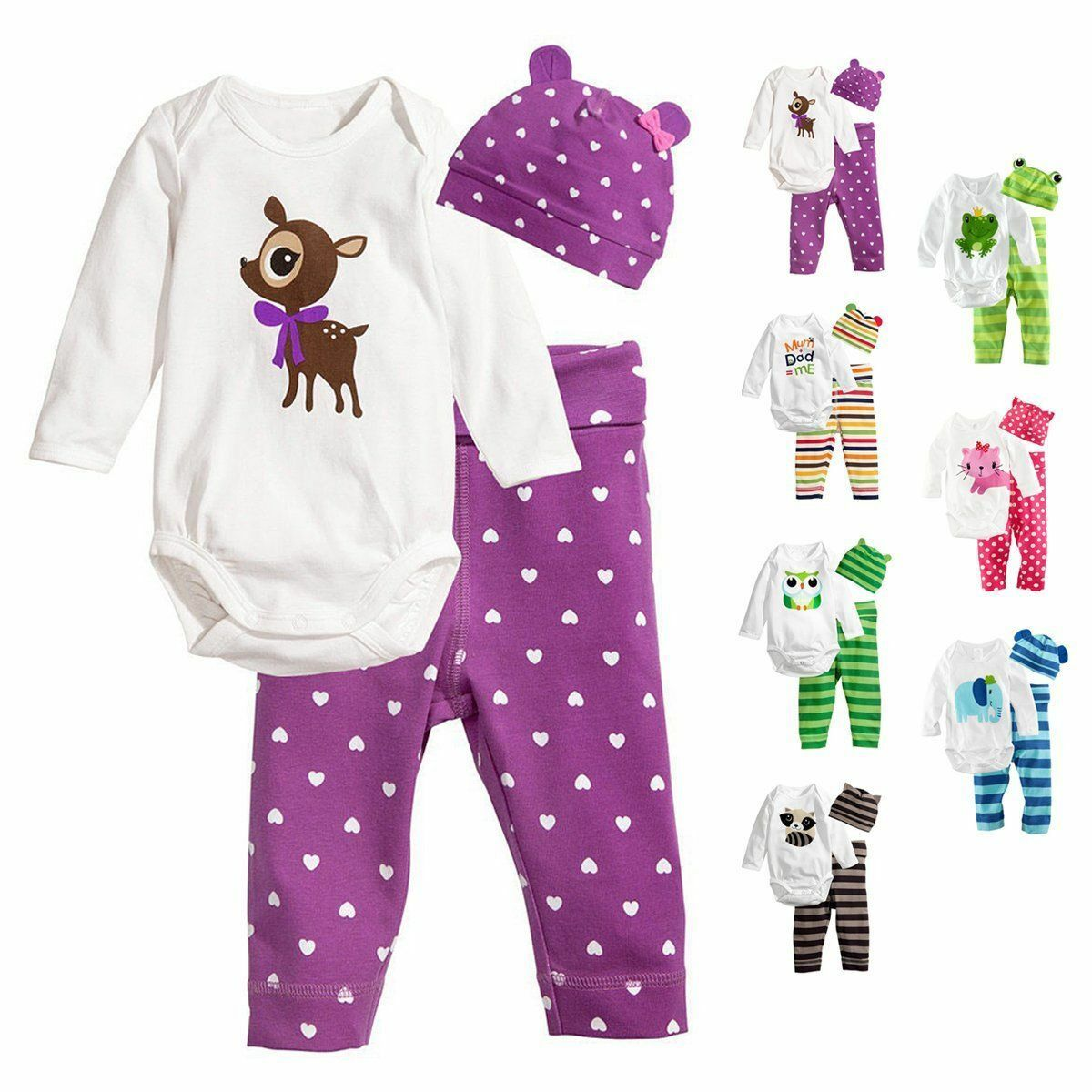 3tlg neugeborenes baby m dchen jungen top strampler lange hose hut outfits set ebay. Black Bedroom Furniture Sets. Home Design Ideas