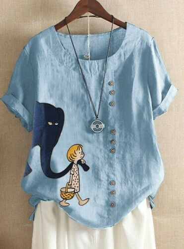 UK Womens Cotton Linen Animal Print Tops Summer Loose Blouse T Shirts Plus Size