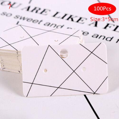 100Pcs Earrings pack ear stud card jewelry display hangtaglabelprint3x5cmTDCA
