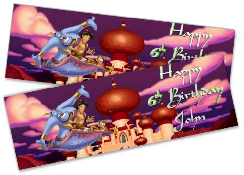 x2 Personalised Birthday Banner Aladdin Design Children Kids Party Decoration 1