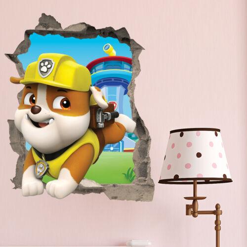 Paw Patrol Rubble wall Crack Kids Bedroom Vinyl Decal Wall Sticker Gift Xmas