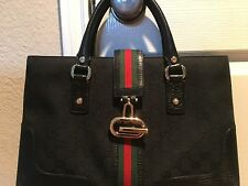 Gucci Black GG Canvas Red Green Stripes Top Handle Bag