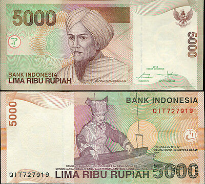 Asia Flight Tracker Indonesia 5000 5,000 Rupiah 2014/2001 P 142 New Unc Chills And Pains