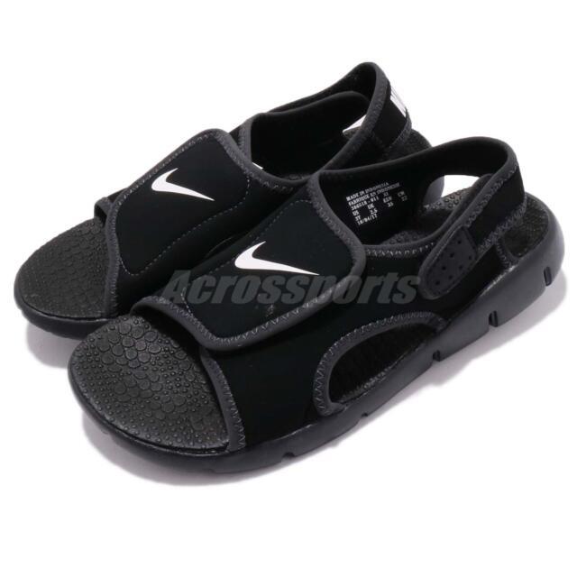 9aa11ecc888c Nike Sunray Adjust 4 GS PS Black White Kid Youth Sports Sandal Shoes 386518- 011