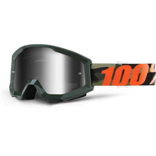 100/% Percent NEW Mx Strata Huntsitan Silver Tinted Motocross Dirt Bike Goggles