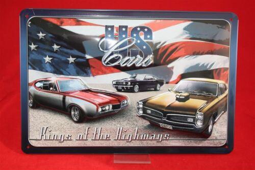 Kings of the Highways  Mustang geprägte Qualität Blechschild 20x30cm US Cars