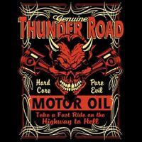 HOT ROD RACING THUNDER ROAD MOTOR OIL BIKER RIDER SKULL SLEEVELESS T SHIRT