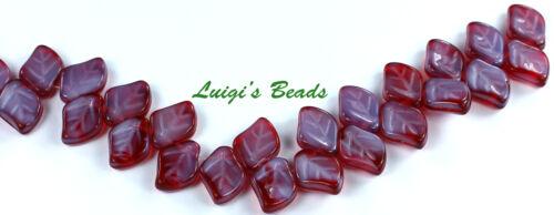 12 Fuschia//Silky Blue Czech Glass Beads Leaves 9//12mm
