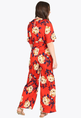 Womens Red Floral Print Side Split Summer Casual Wide Trousers