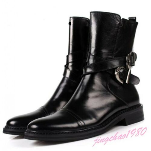 Men's Buckle Leather Military British Style Combat Zipper Shoes Hot Ankle Boots