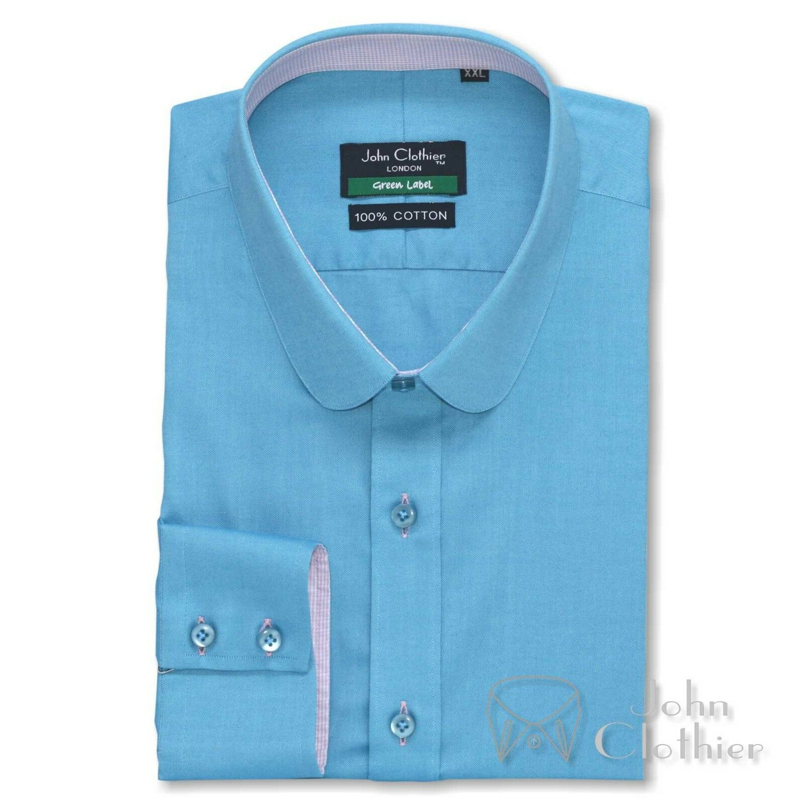 Herren Sea Blau oxford Bankers Penny collar Cotton shirt Weiß Club Round for Gent