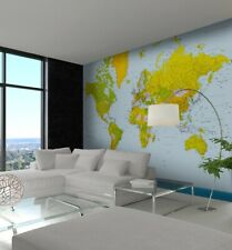 Giant wallpaper poster style wall mural Blue Political Map of the World decor