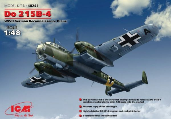 ICM MODELS 48241 GERMAN RECONNAISSANCE PLANE DO-215B-4 WWII MODEL KIT 1 48 NEW