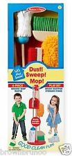 Melissa & Doug Let's Play House! Broom Mop Duster Brush Dustpan Storage Stand