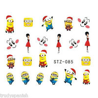 Nail Art Water Decals Stickers Transfers Christmas Santa Minions Gel Polish (85)