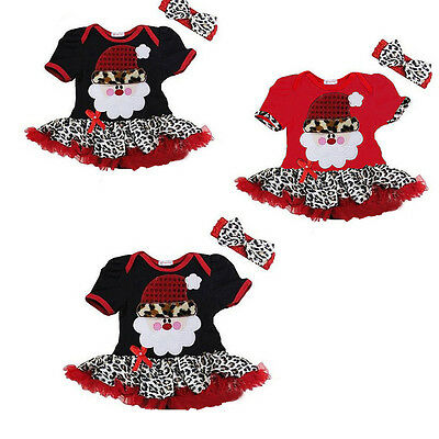 Baby Girls Christmas Party Dress Clothes Kids Santa Claus One-piece Tutus Dress