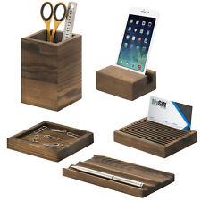 5 Piece Vintage Dark Brown Wood Office Desk Supply Holder Set