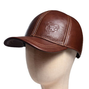a06937bc3 Details about Men's Women's Real Leather Winter Warm Earmuff Baseball  Trucker Army Caps/Hats