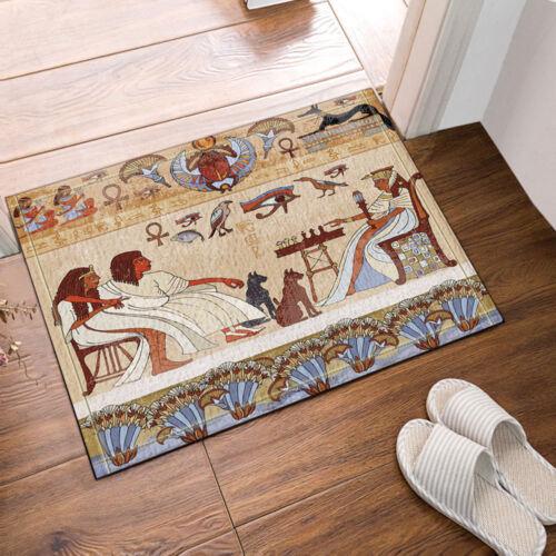 """Egyptian mural and Scarabs chess Bathroom Rug Non-Slip Floor Door Mat 16x24/"""""""