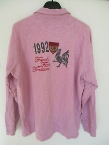 Polo-SERGE-BLANCO-QUINZE-FRENCH-FLAIR-rugby-rose-1992-manches-longues-XXL