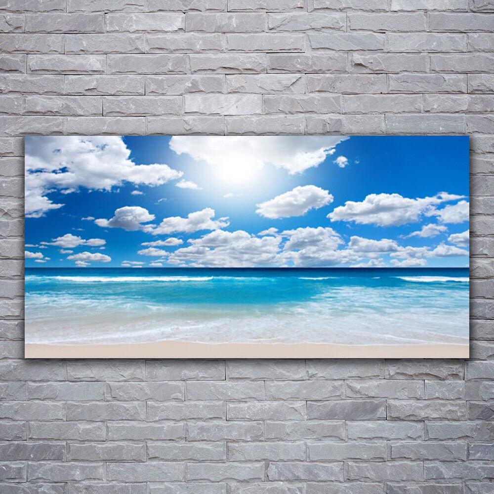 Photo sur toile Tableau Image Impression 120x60 Paysage Mer Du Nord Plage Nuages