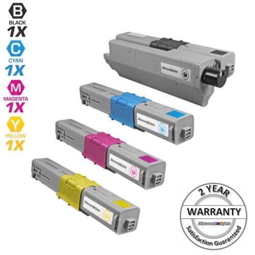 4pk Comp Toner Cartridge Set for Okidata Type C17 Oki C330 44469801 Black CMY