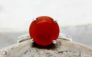 Red Onyx Faceted Round Cut Gemstone 925 Solid Silver Women Cocktail Tiny Ring