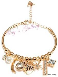 Jeans Rhinestones Logo Bangle Bracelet Gold Tone Charms Nwt Jewellery & Watches Guess ??