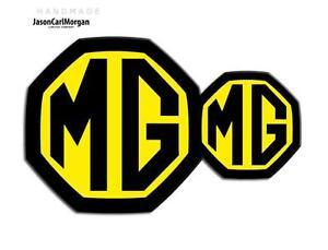 Ambitieux Mg Zr Mk2 Le500 Front Rear Badge Inserts 59 Mm & 95 Mm Noir Jaune Emblème Insignes-afficher Le Titre D'origine
