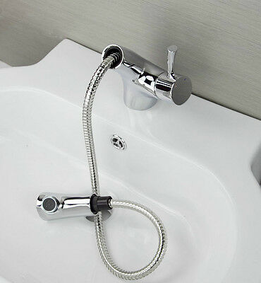 AA293 Pull Out Bathroom Basin Sink Faucet Mixer Tap Vanity Faucet Chrome