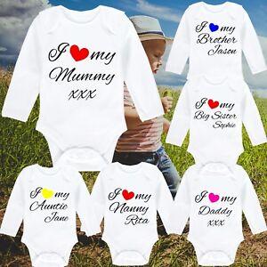 CompéTent I Love My Personnalisé Imprimé Babygrow Vest Cadeau Tout Nom Cœur Manche Longue-afficher Le Titre D'origine