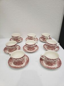 Set of 3 Churchill THE BROOK Red Flat Cups & Saucers Tableware ENGLAND