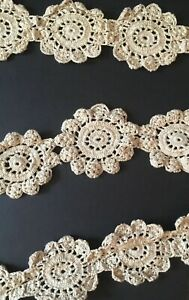 Antique-Handmade-140-034-Golden-Brown-Crochet-Lace-Trim-Made-in-late-19th-Century