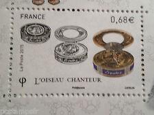 FRANCE 2015, timbre BOITES A MUSIQUE, OISEAU CHANTEUR, neuf**, MNH MUSIC BOX ART