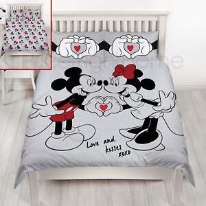 Disney-Mickey-et-Minnie-Mouse-Amour-Set-Housse-de-Couette-Double-Literie