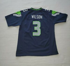 Details about Nike On Field Russell Wilson #3 Seattle Seahawks Jersey YOUTH Large Navy Blue *