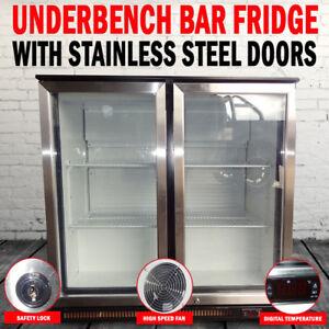 NEW-2-Door-Under-Bench-Display-Fridge-Refrigerator-With-Stainless-Steel-Doors