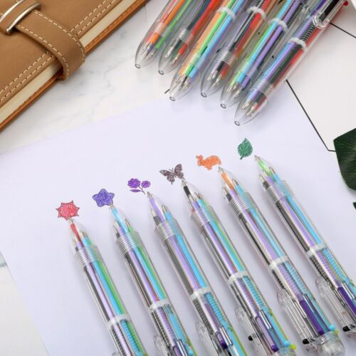 6 in 1 Colors Ballpoint Pen Multi-color Ball Point Pens School Writing 0.5 ink