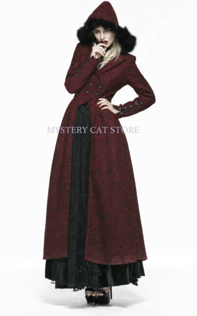 New PUNK RAVE Gothic Woolen Long Coat Wine Dark Red Y554 ALL STOCK IN AUSTRALIA