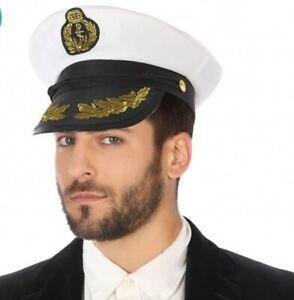 Adaptable Casquette Blanche Capitaine Marin Déguisement Homme Commandant Neuf