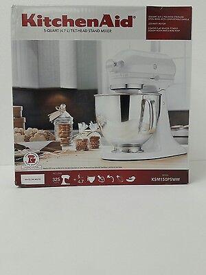 KitchenAid KSM150PS 325WW 5-Quart Tilt-Head Stand Mixer - White on white
