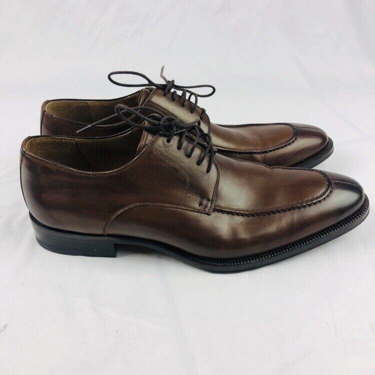 MAGNANNI Artesano hecho a Mano Cuero Marrón Split-Toe Oxford Zapatos 10.5 M