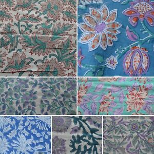 Indian-Hand-Block-Print-Running-Loose-Sewing-100-Cotton-Fabric-By-The-Yard-Art