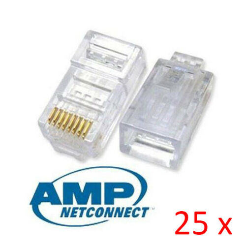 Lot 25pcs AMP Tyco Cat5e RJ45 8P8C Ethernet Network Modular Connector Plug