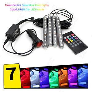 wireless remote music voice control colorful 9 led car interior light rgb neon. Black Bedroom Furniture Sets. Home Design Ideas