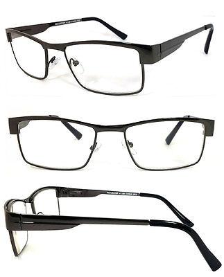 Man Full Metal Frame Clear Lens Reading Vision Glasses Spring Temple - RE43