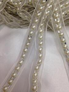 Vintage Style 18mm Ivory/silver Pearls Bead Ribbin Lace Trim Multi Craft 1yards